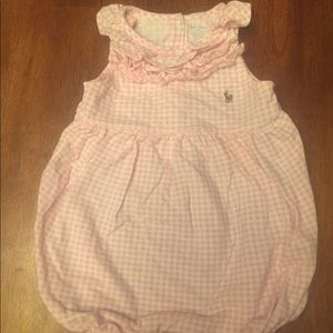 Pink and white checked romper for 18 months